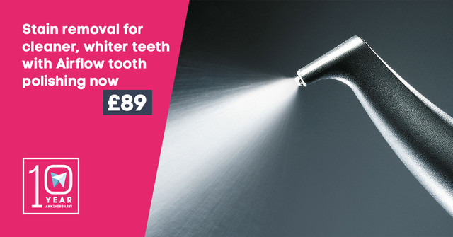 Stain removal for cleaner, whiter teeth with Airflow tooth polishing now £89