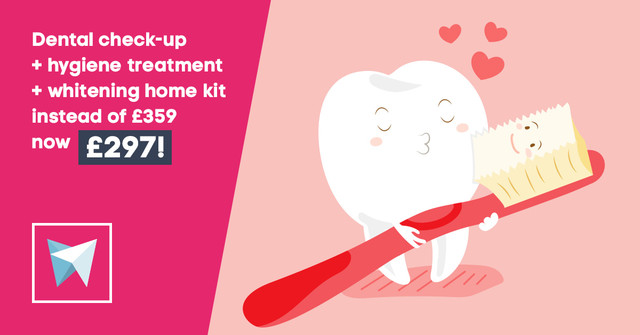 Dental check-up + hygiene treatment + whitening home kit now £297 instead of £359!